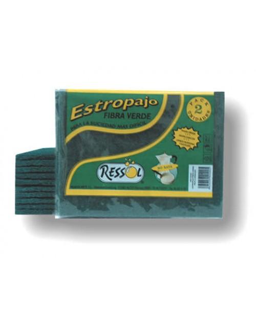 Estropajo de Fibra Verde RESSOL Extra 1ª. Pack-30 unidades