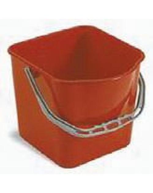 Cubo de plástico 15 litros. Azul / Rojo