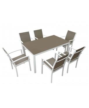 Conjunto Terraza Mesa Tonic Aluminio y Cristal 150x90 cm. y 4 Sillones Tonic Resol