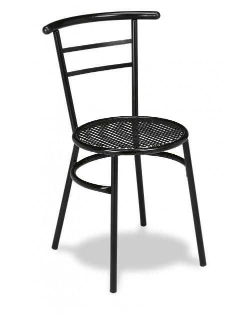 Silla Apilable para Bares y Restaurantes Tubo Acerado y Rejilla Metálica negra M.101