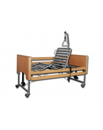 Conjunto cama con carro elevador columnas, incorporador y barandillas madera deslizables 90x190 (ECOFIT PLUS)