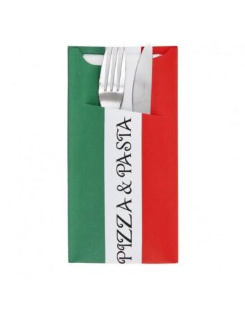 BOLSAS PARA CUBIERTOS PIZZA PASTA DE PAPEL DECORADA CON SERVILLETA BLANCA 33x40 CM. 2 CAPAS TISSUE (250 UNID.) GARCÍA DE POU