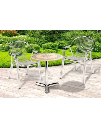 Conjunto Mesa Redonda y 4 sillas Aluminio Anodizado Para Terrazas de Bares y Cafeterías