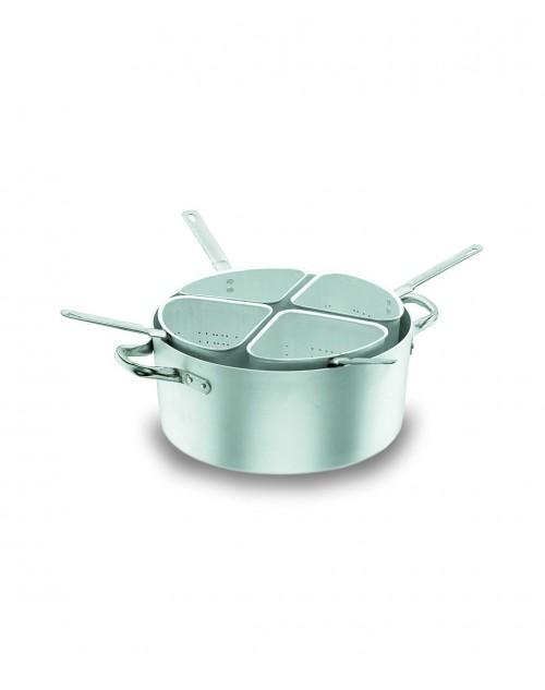 Colador 4 Sectores Chef Aluminio Profesional Con Cacerola y Tapa