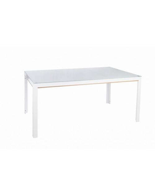 Mesa Shio 150 x 90 cm. Cristal y Aluminio Pulverizado Blanco