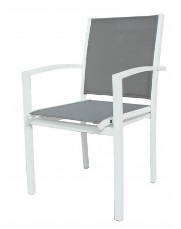 Sillón Tonic Apilable Aluminio Pintado Blanco y Textilene